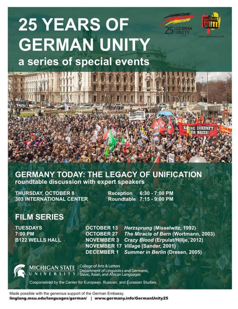 """flyer for """"25 years of german unity a series of special events"""""""