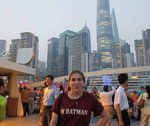 Kathryn in front of a city skyline