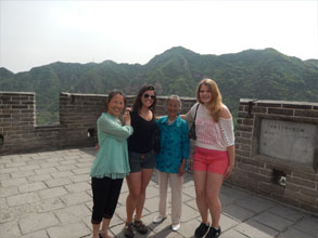 four people on the great wall of china