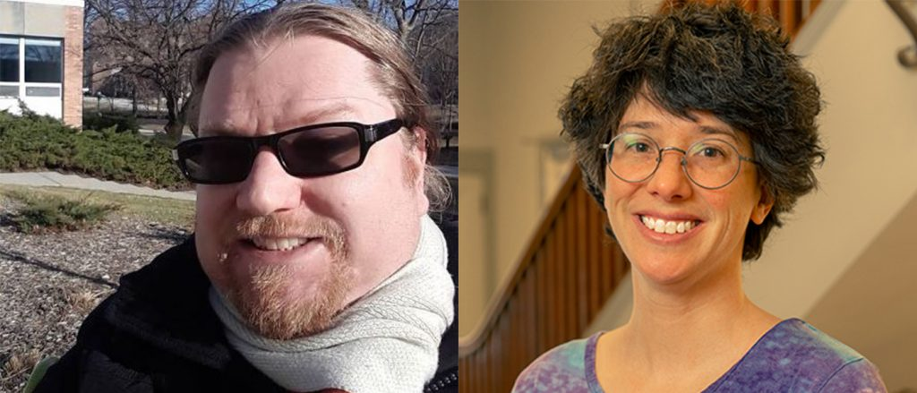 a man wearing a scarf and sunglasses  outside and a woman with short hair wearing glasses and a purple shirt