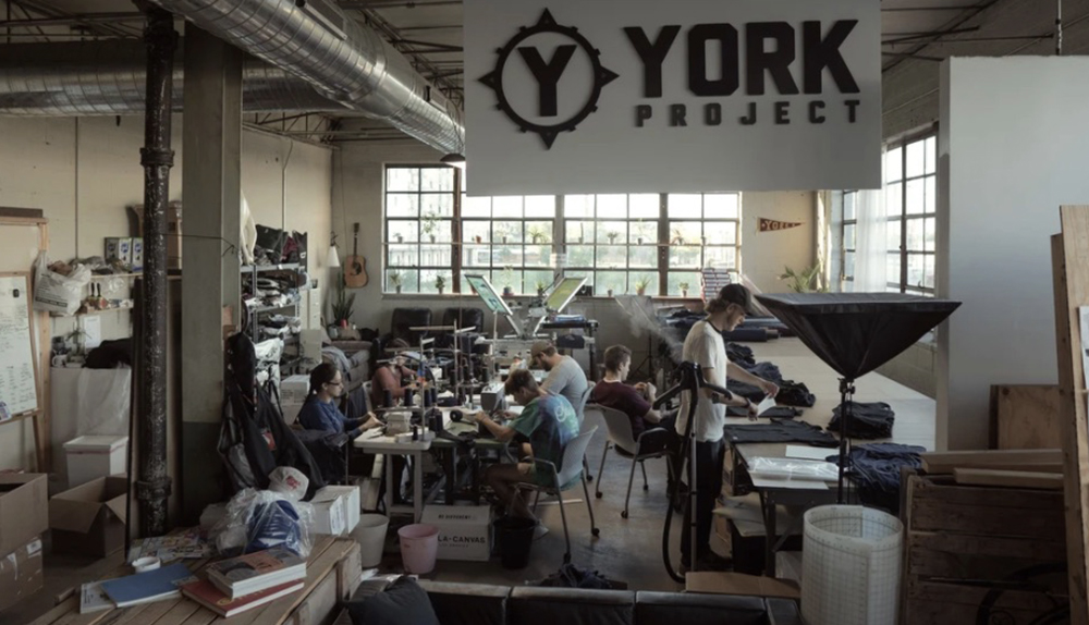 Group of 6 people working on clothes for The York Project