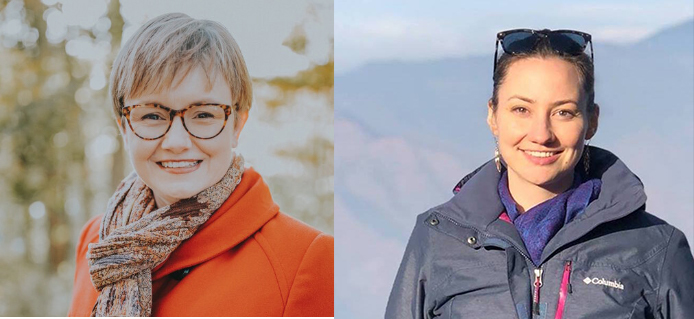 two photos of women connected, one woman with short hair wearing glasses and an orange scarf and coat, the other woman with her hair up wearing a rain coat